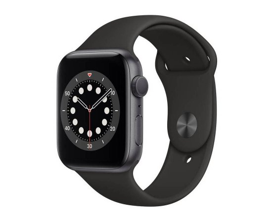 APPLE WATCH SERIES 6 GPS, 44MM SPACE GRAY ALUMINIUM CASE WITH BLACK SPORT BAND M